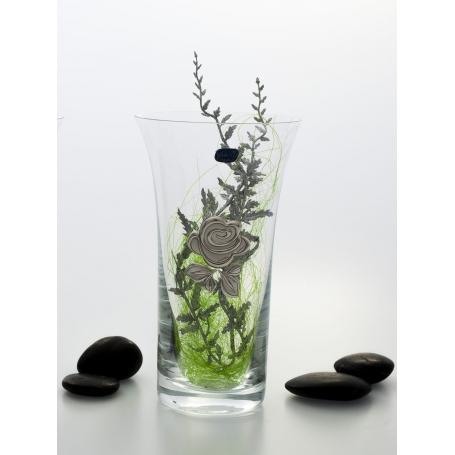 Bohemian glass decorated flower vase 507