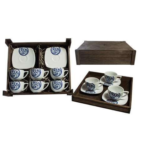 Juego de café Square 6 piezas en caja de madera col. Lúa