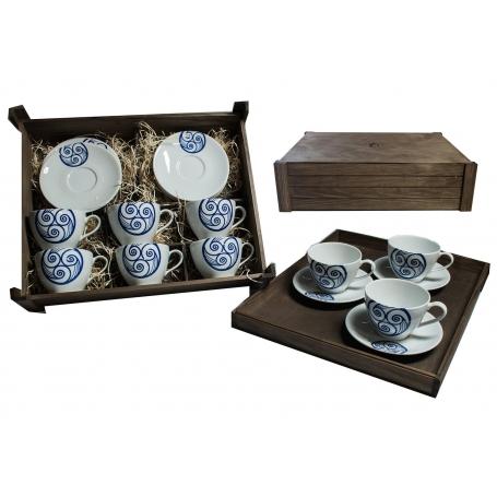 Juego de desayuno Volare 6 piezas en caja de madera col. Lúa