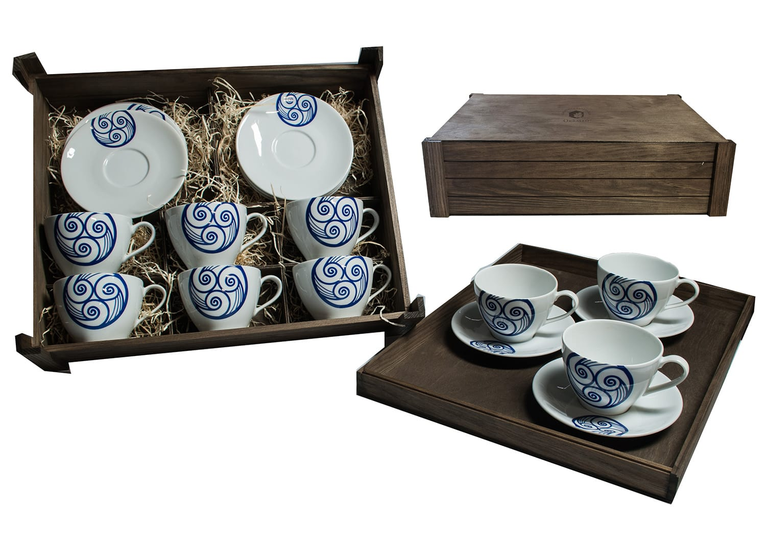 Six-mug breakfast set in wooden box. Volare Desing, Lua Collection