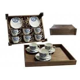 Juego de té Volare 6 piezas en caja de madera col. Lúa