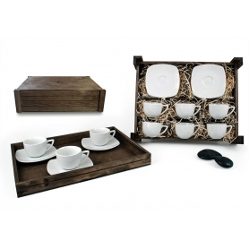 Six-Piece Coffee set in wooden box. Square desing, White collection