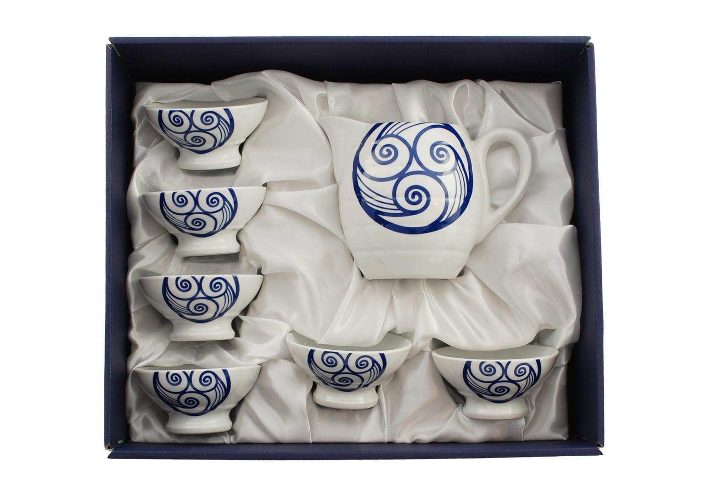 Set de vino Ribeiro 6 tazas peq. con jarra col. Lúa