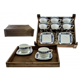 Six-Piece Coffee set in wooden box. Square desing, Celta collection