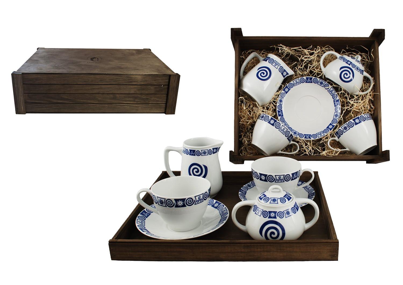Juego de desayuno Volare 4 pz. en caja de madera col. Celta