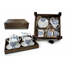 Juego de té Volare 4 pz. en caja de madera col. Lúa