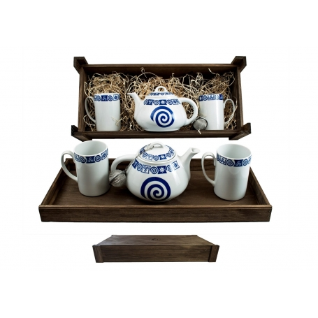 Four-piece tea set in wooden box. Ema Mug desing, Celta Collection