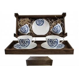 Two-mug breakfast set in wooden box. Volare Desing, Lua Collection