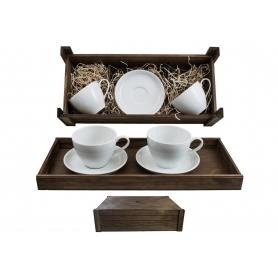 Juego de desayuno Volare 2 pz. en caja de madera col. Blanca