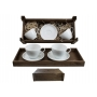 Two-mug breakfast set in wooden box. Volare Desing, White Collection