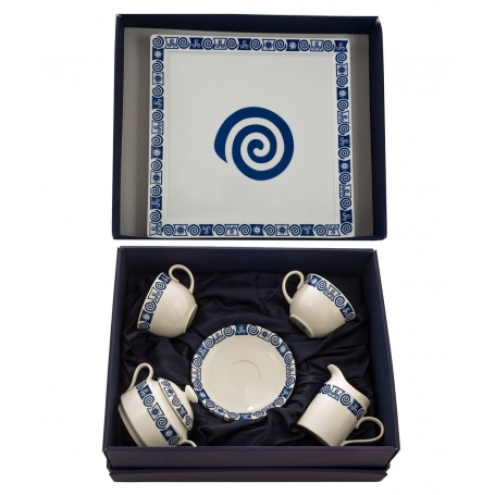 Five-piece tea set Moments and Marcador tray. Celta collection