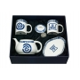 Two-mug tea set, with teapot, appetizer platter and tea strainer. Celta Collection
