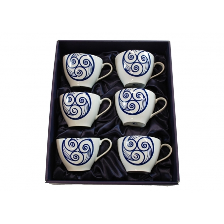 Six-mug porcelain set. Volare design, Lua collection.