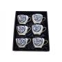 Six-mug porcelain set. Volare design, Lua collection.
