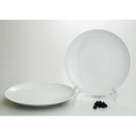 White dinner plate. Coupe design.