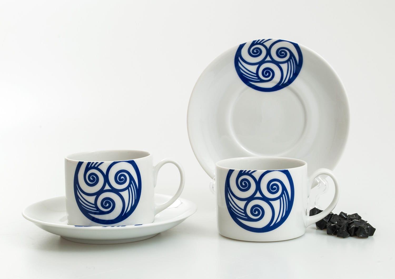 Taza y plato de té Pombal col. Lúa