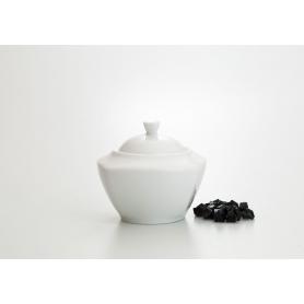 White collection sugar bowl. Square design.