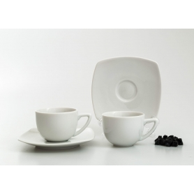 Square coffee cup and saucer. White collection.