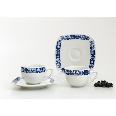 Square coffee cup and saucer. Celta collection.