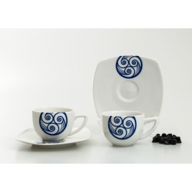 Square coffee cup and saucer. Lua collection.