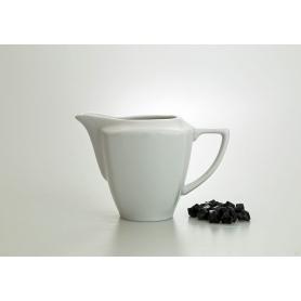 White collection milk pot. Square design.