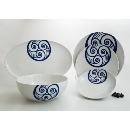 20-piece dinnerware set. Coupe design, Lua collection.