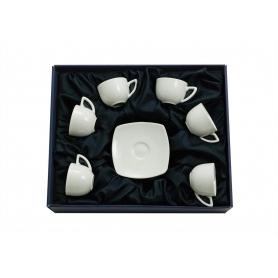 Six-piece coffee set. Square design, White collection.