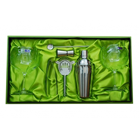 Gin and Tonic set. Two glasses (E5 engraving) and cocktail accessories