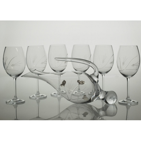 Gastro glass wine set. 6 glasses and decanter 38675 (petals engraving)