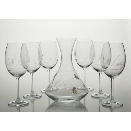 Juego de Vino Gastro, 6 copas con decantadora 31AA09 (talla pétalos)