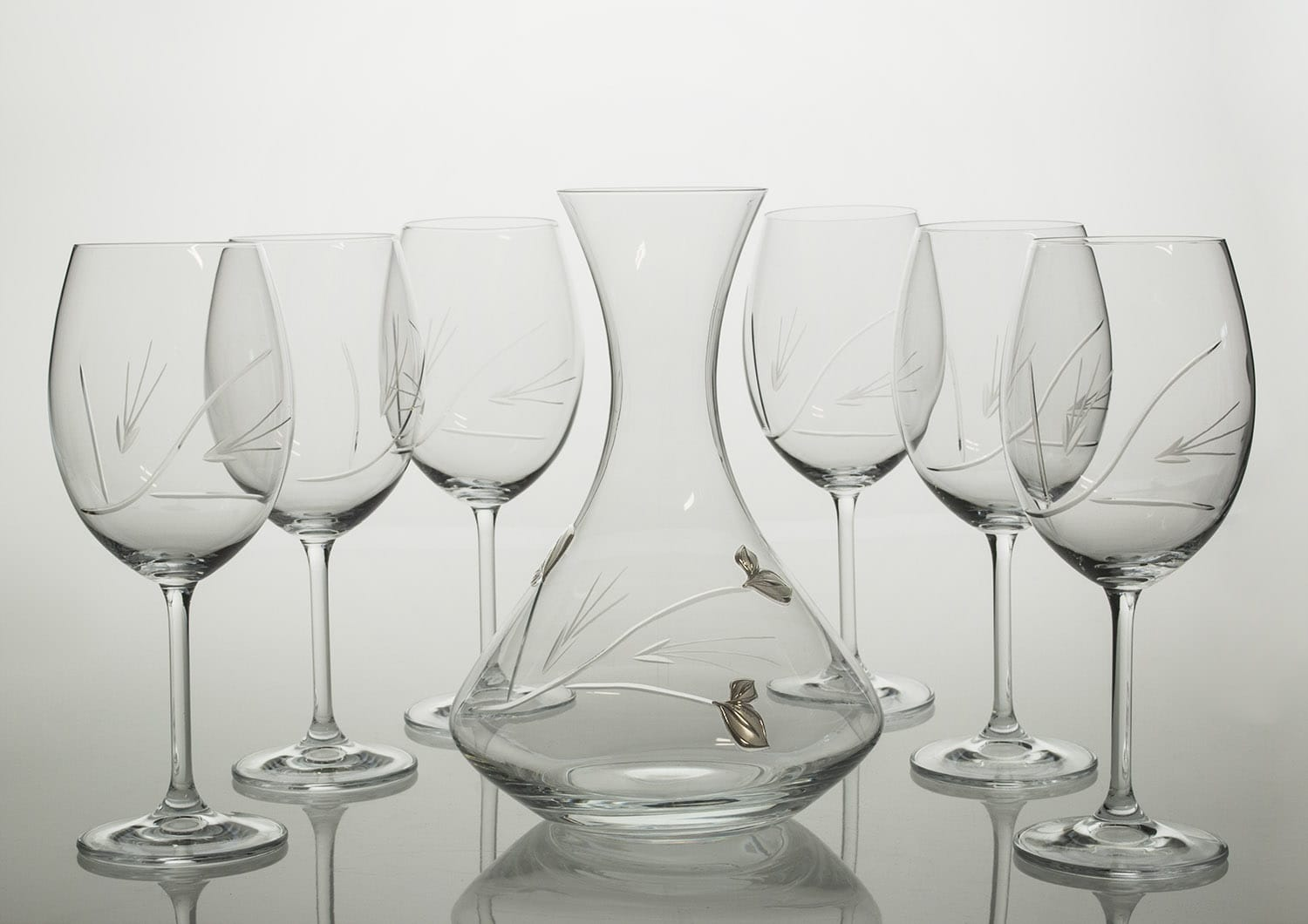 Gastro wine set. 6 glasses and decanter 31A09 (oetals engraving)