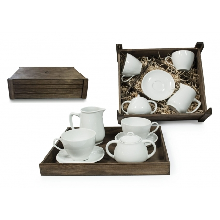 Four-piece breakfast set in wooden box. Volare Desing, White Collection