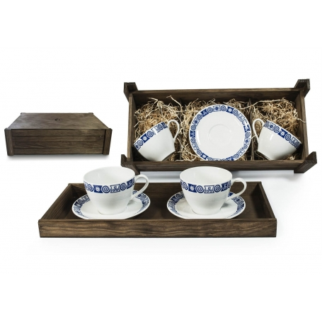 Two-mug breakfast set in wooden box. Volare Desing, Celta Collection