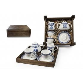 Four-Piece Tea set in wooden box. Volare desing, Celta collection