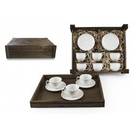 Juego de café Moments 6 pz. en caja de madera col. Blanca
