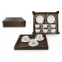 Six-Piece Coffee set in wooden box. Moments desing, White collection
