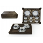 Six-Piece Coffee set in wooden box. Moments desing, Celta collection