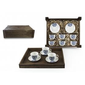 Juego de café Moments 6 pz. en caja de madera col. Lúa
