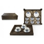 Six-Piece Coffee set in wooden box. Moments desing, Lua collection