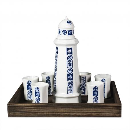 Seven-piece liquor set in wooden box. Lighthouse design, Celta collection.