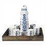 Seven-piece liquor set in wooden box. Lighthouse design, Lua collection.
