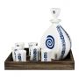 Seven-piece liquor set in wooden box. Lagoa design, Celta collection.