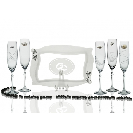 Barbelina champagne flutes and Patisserie tray for wedding/anniversary gift