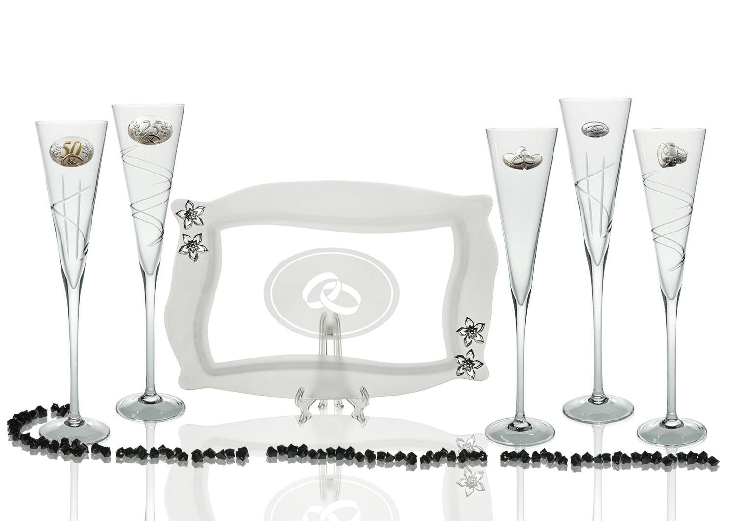 Radu champagne flutes and Patisserie tray for wedding/anniversary gift