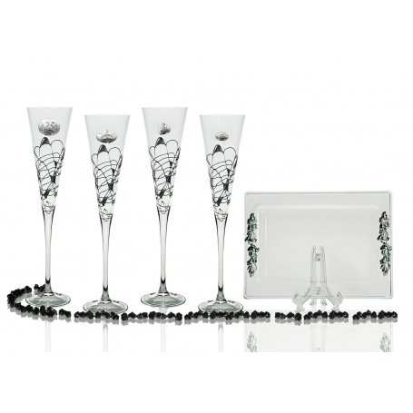 Milano Black and Silver champagne flutes and Rialto tray for wedding or anniversary gift