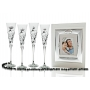 Milano Black and Silver champagne flutes and photo album for wedding or anniversary gift