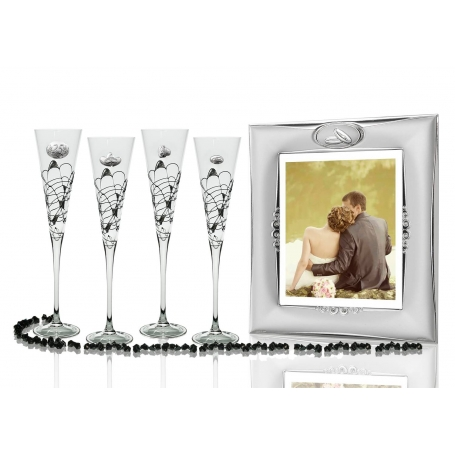 Milano Black and Silver champagne flutes and photo frame for wedding or anniversary gift