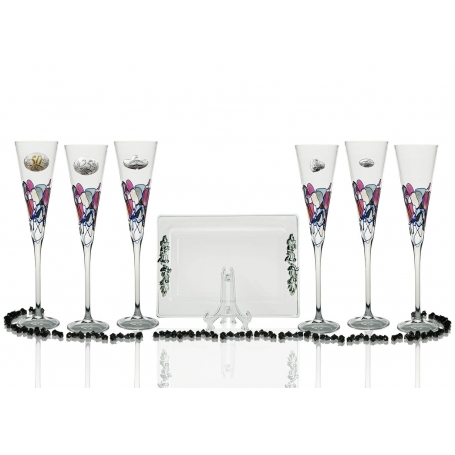 Red Milano champagne flutes and Rialto tray for wedding or anniversary gift