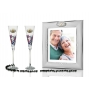 Milano Red flutes and photo frame for wedding or anniverary gift
