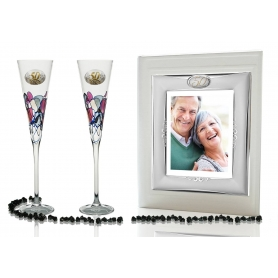 Red Milano champagne flutes and photo album for wedding or anniversary gift